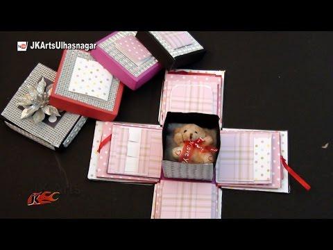 How to make Exploding box / Scrapbook box   Valentine's Day Gift Idea   JK Arts 1002