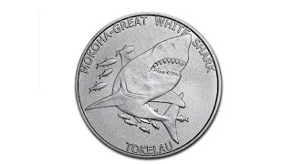"""нумизматика, обзор монеты Токелау 5$ долларов """"Белая акула"""", монеты в подарок"""