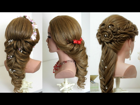 Hairstyles for long hair tutorial. 2 wedding prom ideas
