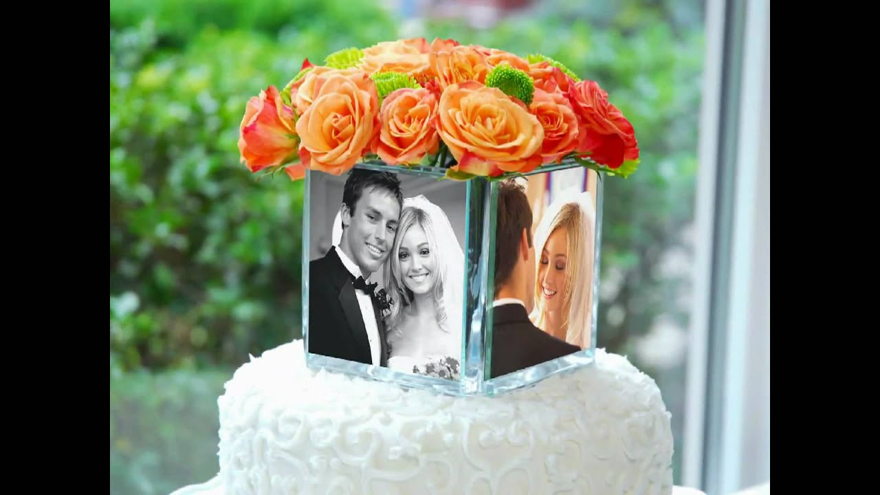 picture holder wedding cake topper square glass photo vase amp cake topper 18353