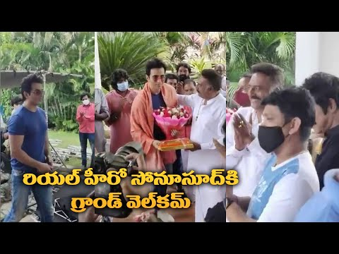 Sonu Sood Gets Grand Welcome to the sets of Alludu Adhurs