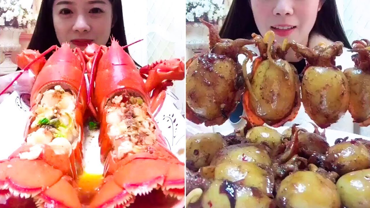 Eating Show Compilations Mukbang Eating Show Lobster Octopus Squid Meat Not Asmr