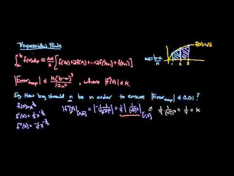 Trapezoidal rule error formula