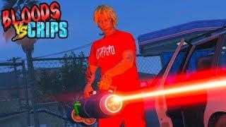 BLOODS VS CRIPS 'LASER GUNS' GANG WAR (GTA5 SKIT)