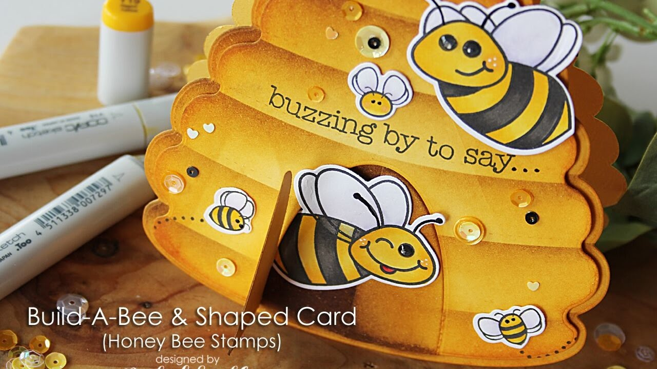 Honey Bee Stamps | Hive Shaped Bees Card - YouTube - photo#43