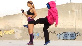 Repeat youtube video Kung Fu / MMA Girl vs 3 Hoodie Thugs Fight Scene (Groin Kick KO, Real Contact Hits)