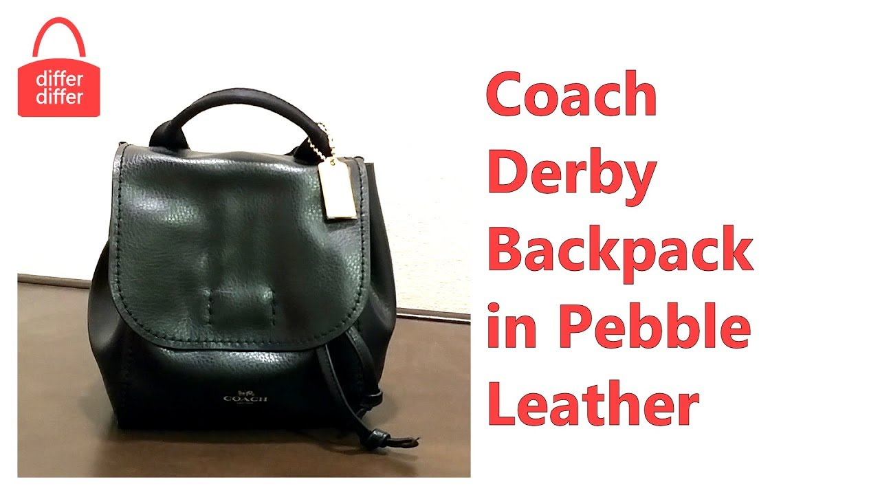 347b6c439d02b Coach Derby Backpack in Pebble Leather 59819 - YouTube