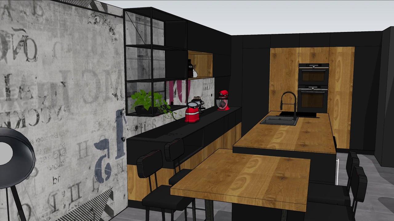 cuisine noire et bois de style