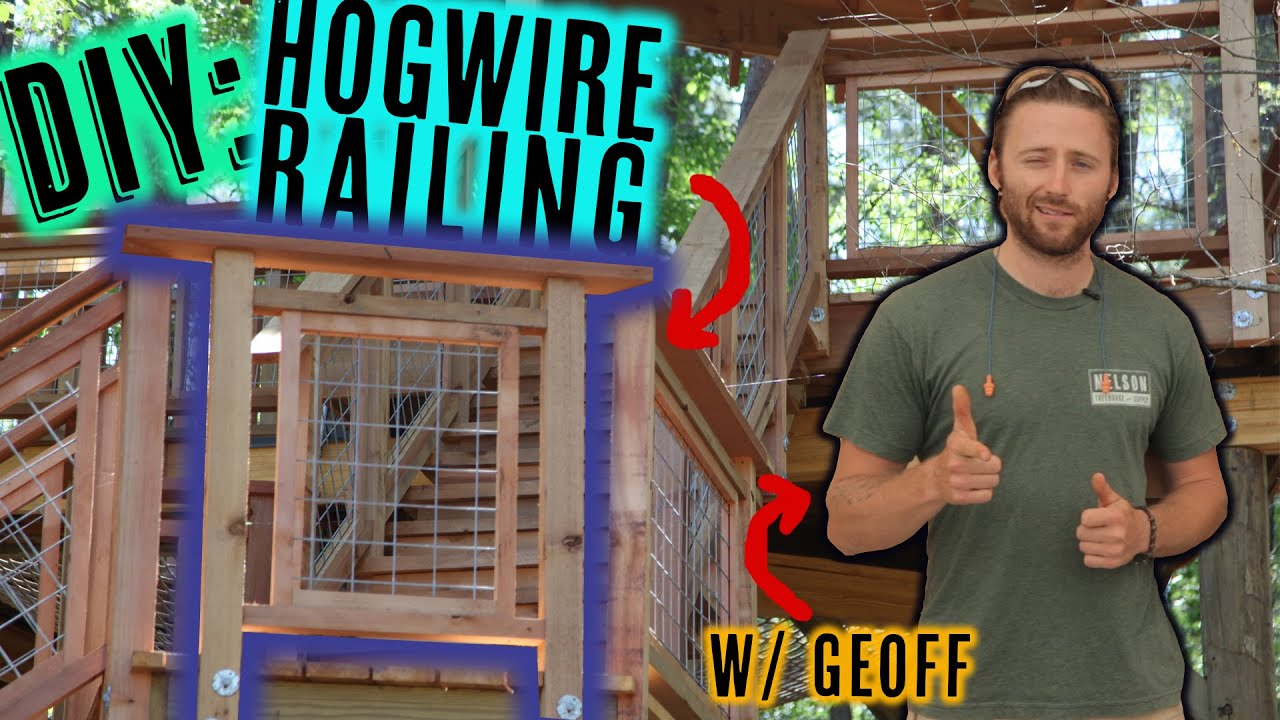 Deck railing with hog wire panels - YouTube