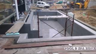 Крытый бассейн с выходом на улицу. Отделка: (керамогранит)