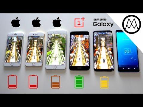 iPhone 8 vs Galaxy S8 vs Oneplus 5 - Battery Life Drain Test
