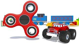 Learn Colors for Children with Monster Truck + Fidget Spinner Toys Kids Toddler Learning Colours