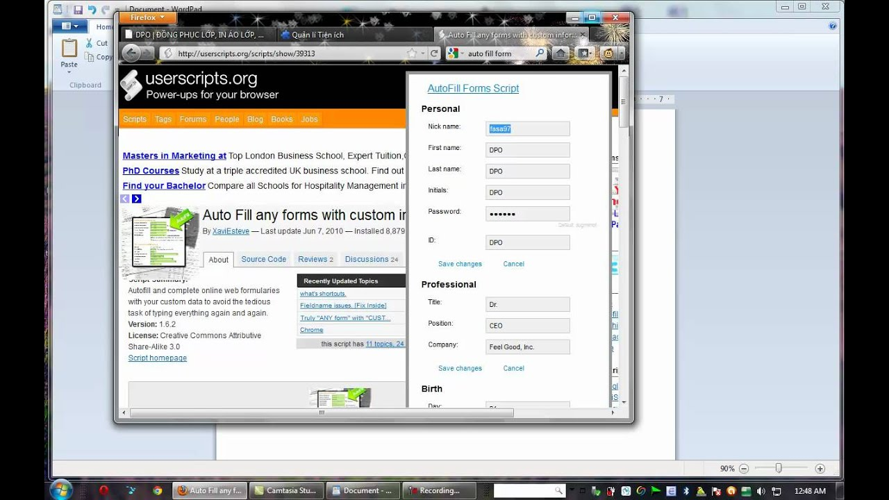 Auto fill form] GreaseMonkey - best addon Firefox - YouTube