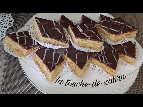 gâteau-superposé-à-la-confiture-d'abricot-حلويات-العيد2020/-حلوى-الطبقات-بالمعجون-و-شوكولاطة
