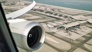 "Qatar Airways Boeing 787-8 ""Dreamliner"" BUSINESS CLASS Takeoff from Doha Hamad Airport"
