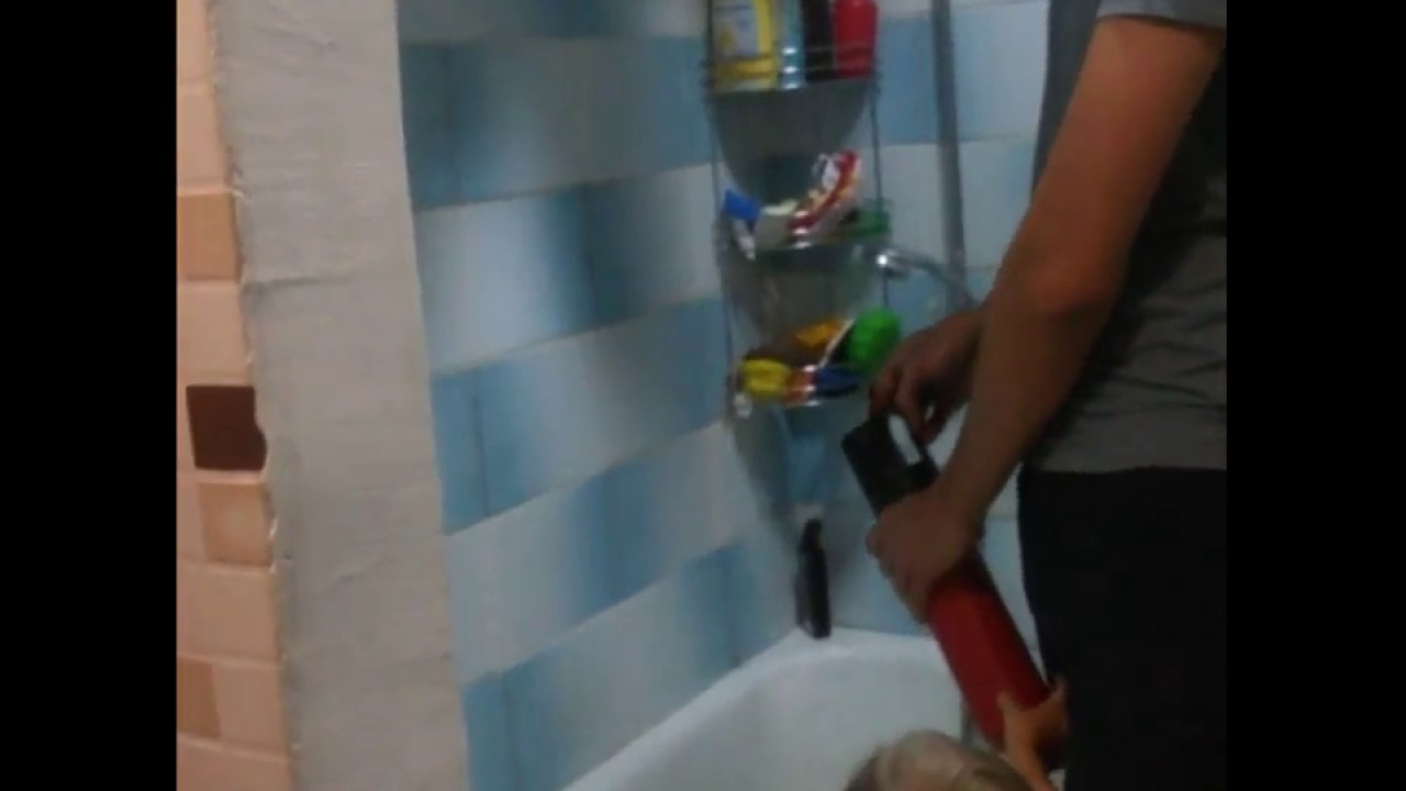Funny Video: Fire Extinguisher Explodes In Bathroom