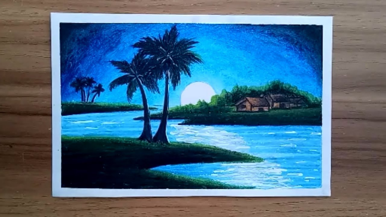 How To Draw Moon Light Night Village Scenery With Oil Pastel Step By