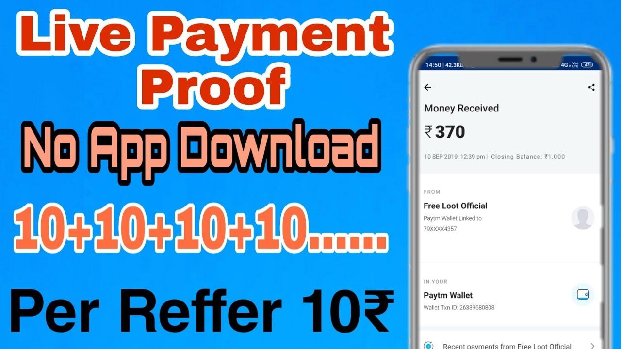 10₹ Per Reffer Instant Paytm Redeem || No need Of App Download || Paytm New  offer