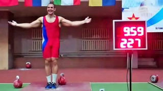 Ivan Denisov - 227 reps in snatch with the 32 kg kettlebell in 10 minutes (2012)