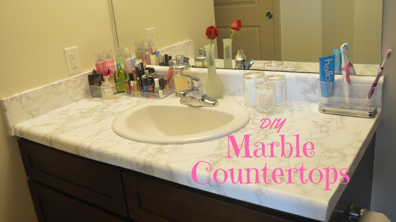 Remodeling Bathroom While Pregnant diy: marble countertops!!(bathroom remodel under $25) - youtube
