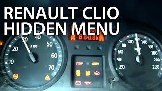 Renault Clio II hidden test menu Thalia Dacia Logan (gauges service mode)