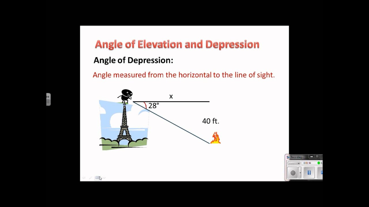 Geometry Lesson 84 Angle of Elevation and Depression V3 YouTube – Angle of Elevation Worksheet