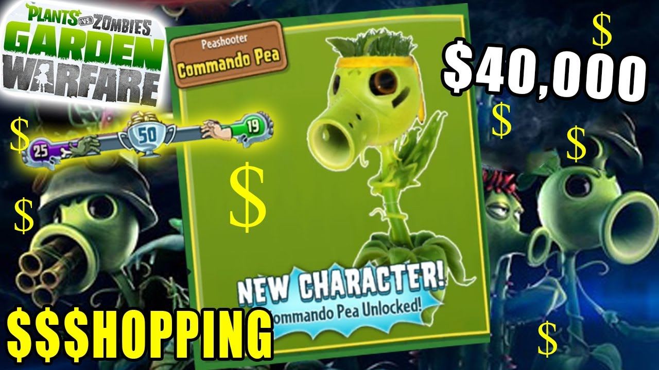 Rare Commando Pea Unlocked Plants Vs Zombies Garden