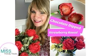 CHOCOLATE DIPPED STRAWBERRY ROSE POPS!- MISS TRENDY TREATS