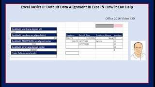 Excel Basics 8: Default Data Alignment In Excel & How it Can Help