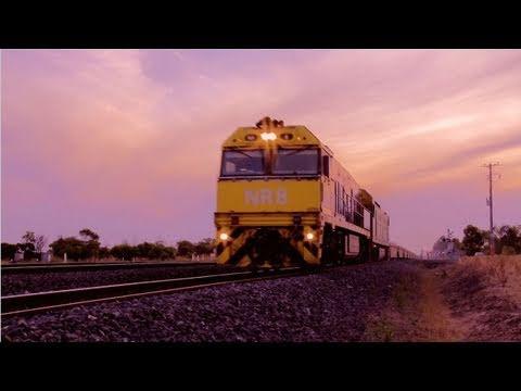 Long Freight Train at Sunset heads towards Melbourne - PoathTV Australian Trains & Railroads