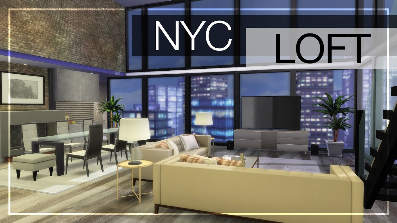 New York Loft Style Living Room Perfect Color Nyc + Cc Links | The Sims 4 Luxury Build - Youtube