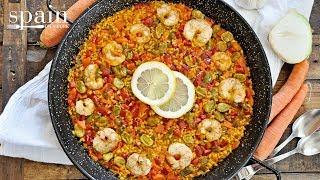 Spanish ¨Paella Campera¨ With Vegetables & Shrimp