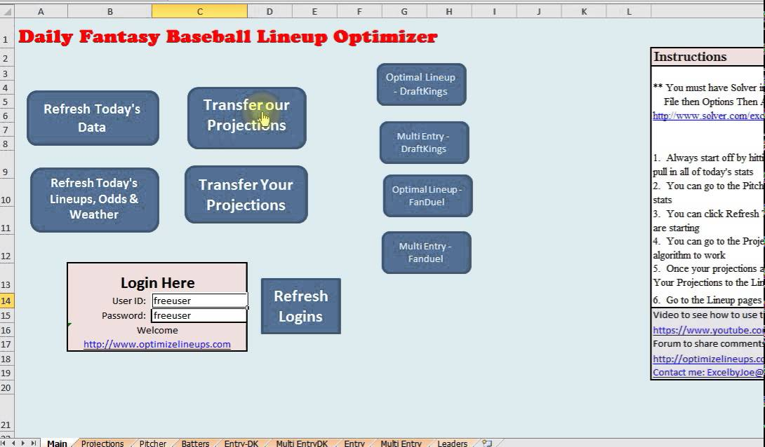 How to use my DFS Excel spreadsheet for Baseball - YouTube - baseball stats sheet template