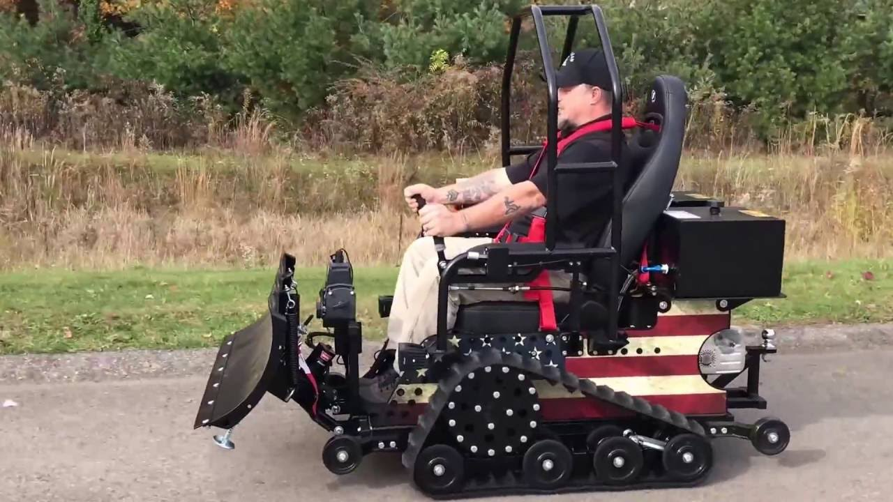 quantum wheelchair baseball bean bag chair introducing the powerplow exclusively for trac fab gas powered - youtube