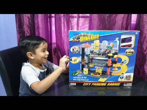 parking-garage-toy-playset-with-hot-wheels-cars- -dyna-city-parking-garage-toy-opening