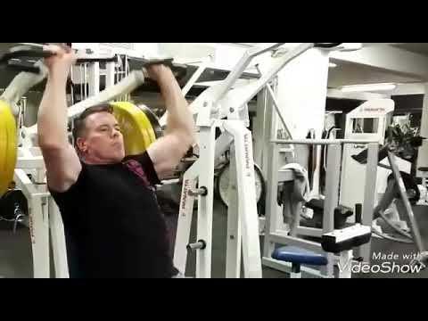 Jouko ahola training shoulders 2017 in a Finland gym