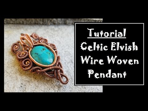 Copper Wire and Turquoise Cabochon Pendant