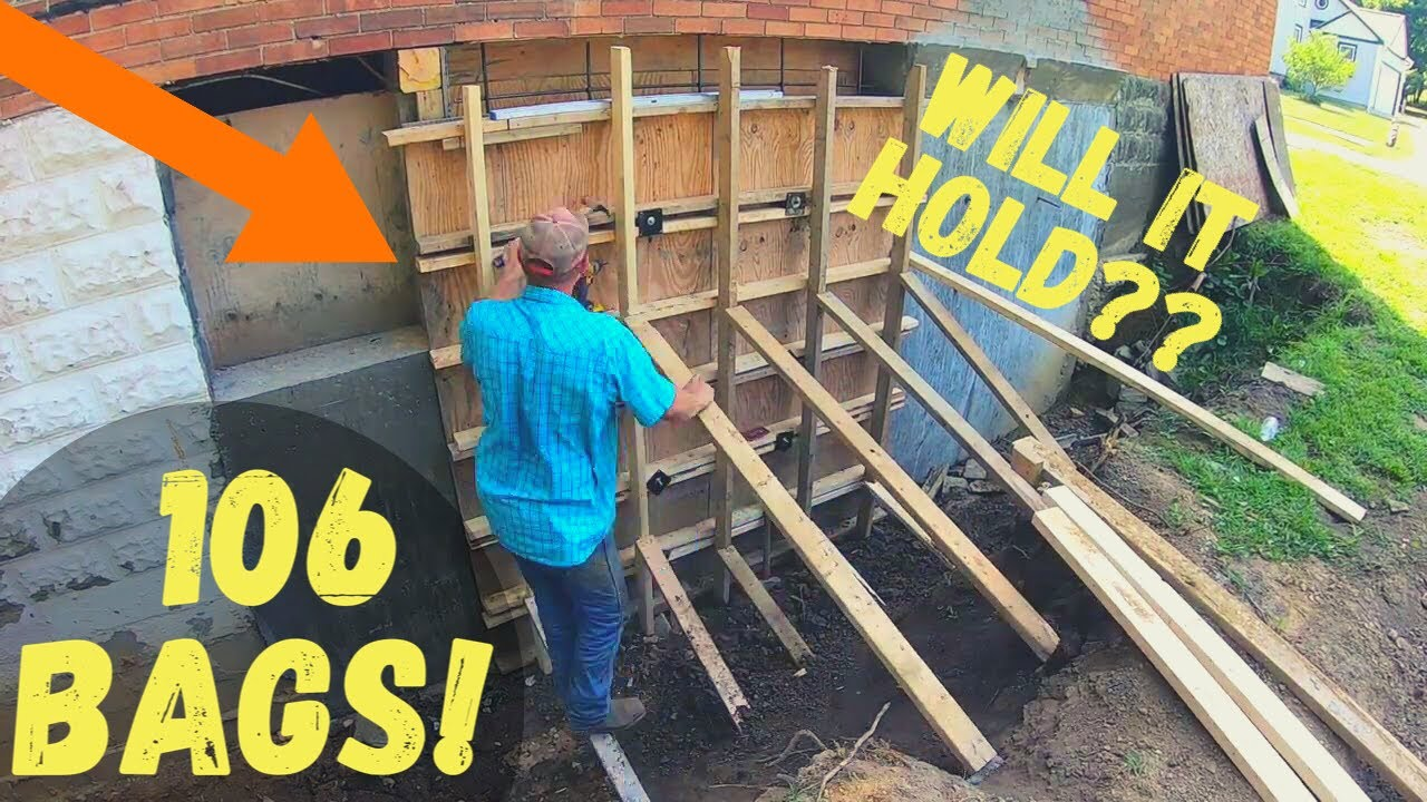 Pouring Concrete Foundation walls by hand! ABANDNED CHURCH Renovation Pt. 13