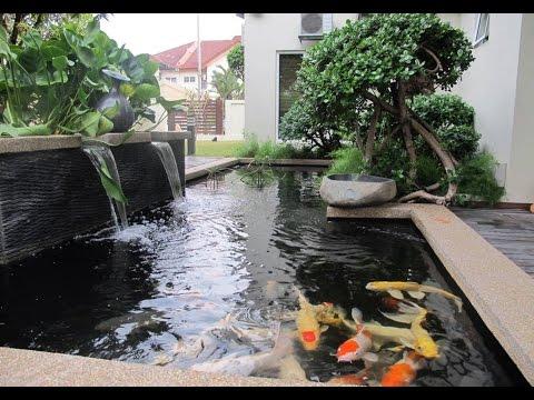 15 Desain Model Kolam Ikan Hias Minimalis Dengan Air Mancur