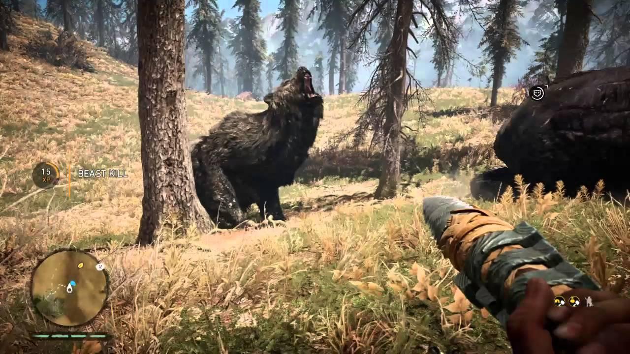 Far Cry Primal Great Scar Bear Vs Cave Bear Youtube