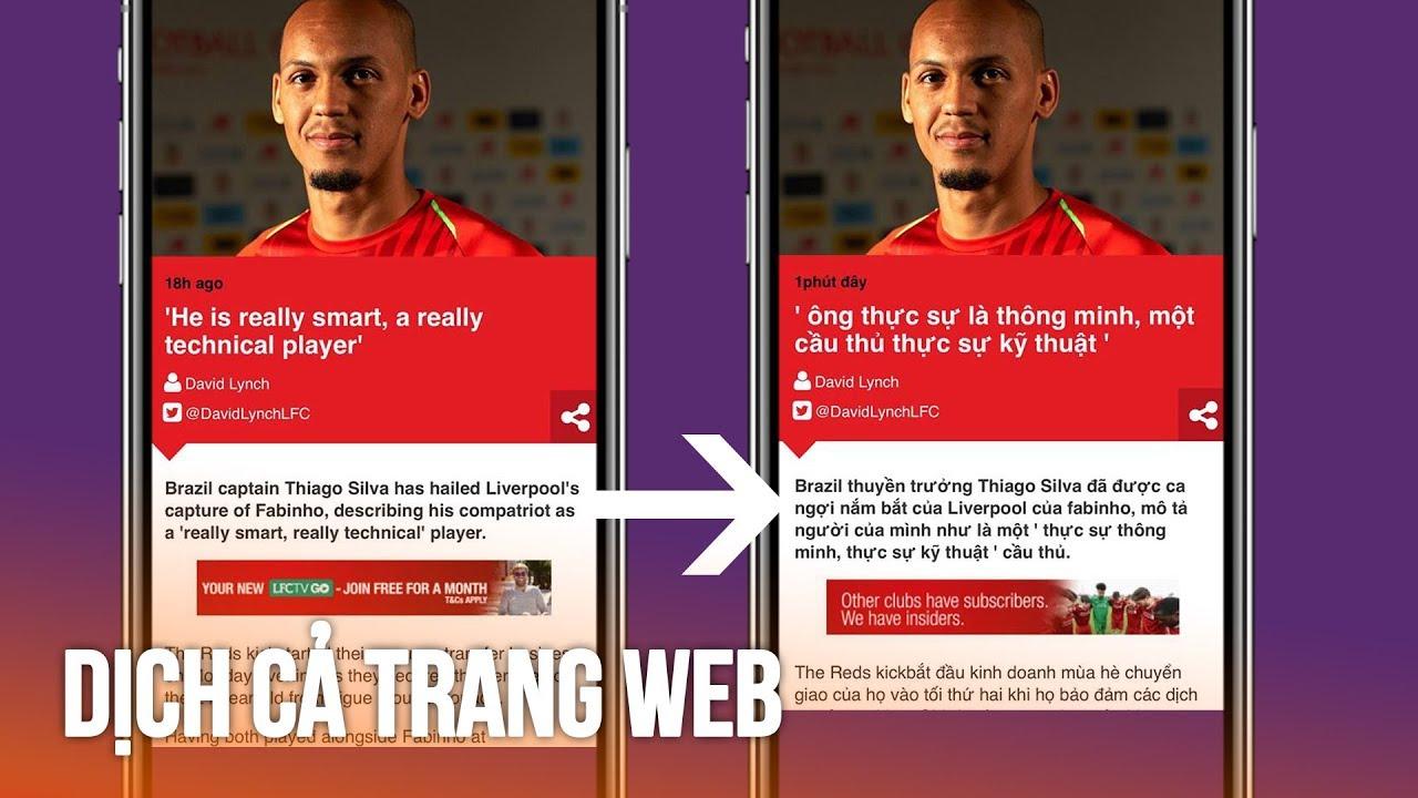 Cách dịch cả 1 trang web trên iPhone cực nhanh mà hay