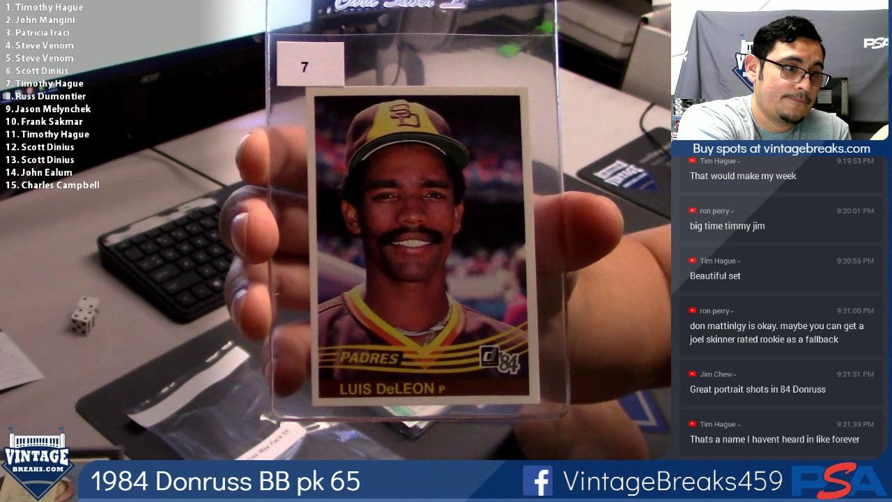 2018 09 11 1984 Donruss Baseball Wax Pack 65