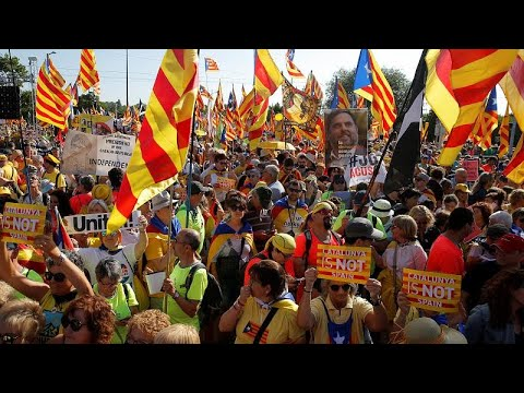 Catalan protesters demonstrate in front of EU parliament against exclusion of MEPs