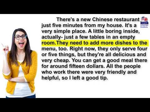 تعلم اللغة الانجليزية من خلال القراءة. - Reading- describing a restaurant