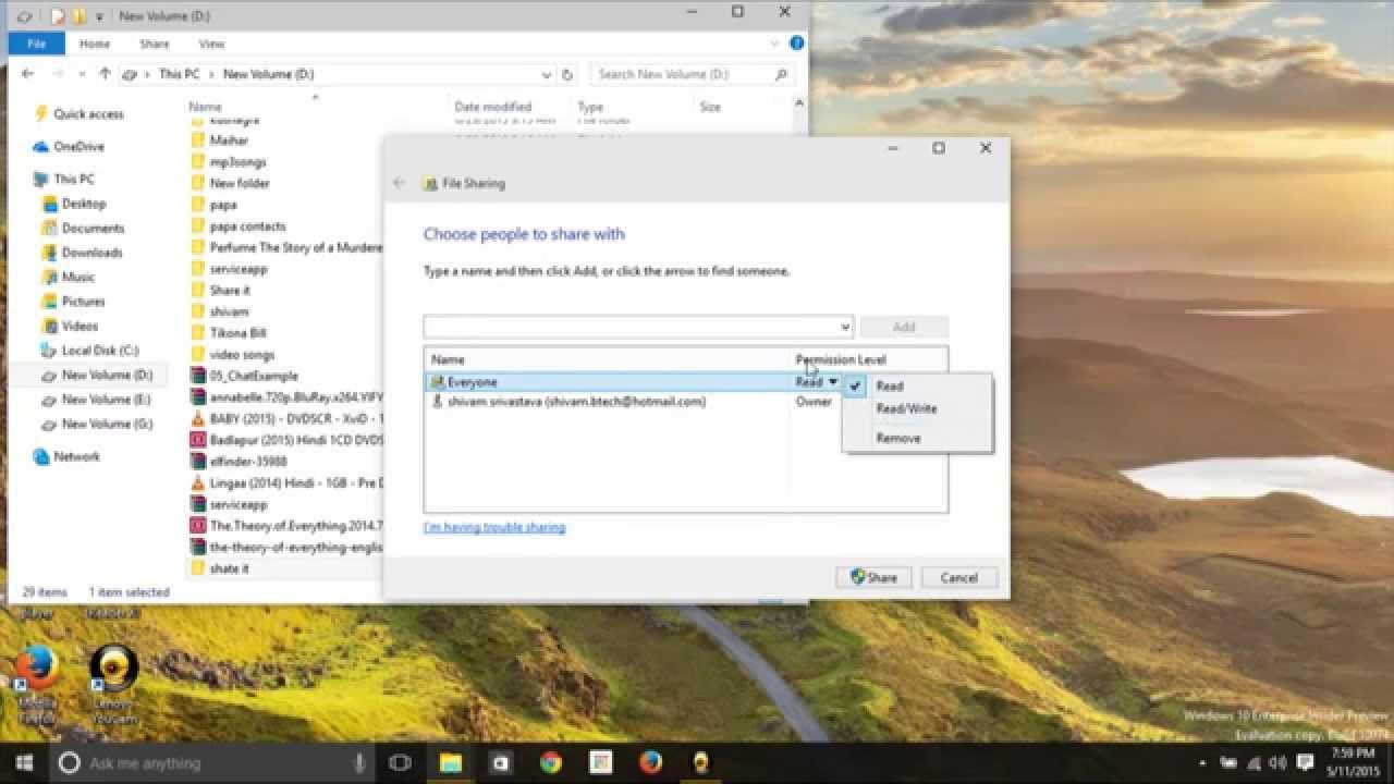 file sharing windows 10