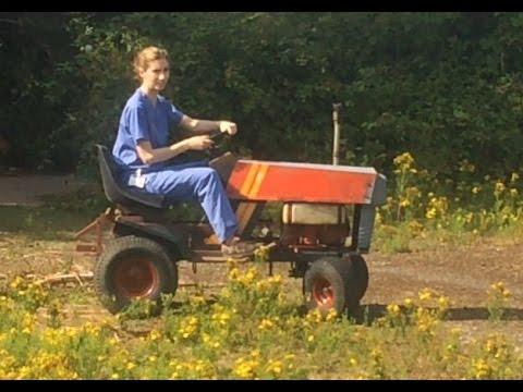 a nurse off roading a westwood gazelle lawnmower then a caterpillar