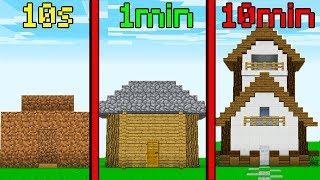 10 Sec Vs 1 Min Vs 10 Min Challenge - MINECRAFT HOUSE BUILD!
