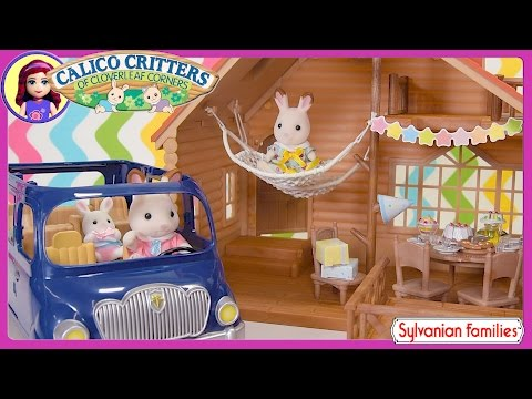 Calico Critters Sylvanian Families Lakeside Lodge Gift Set with Family Van Kids Toys