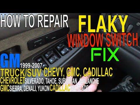 Chevy Silverado WINDOW Switch FLAKY How To FIX Power WINDOWS Switch Panel Troubleshooting GMC Sierra