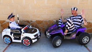 Thief taken big jeep Funny Policeman Dima ride on POWER WHEELS cars Pretend play with Daddy